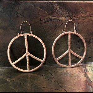 Lucky Brand Peace Sign Hoop Earrings